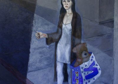 Woman With Run In Her Stocking and Teddy Bear