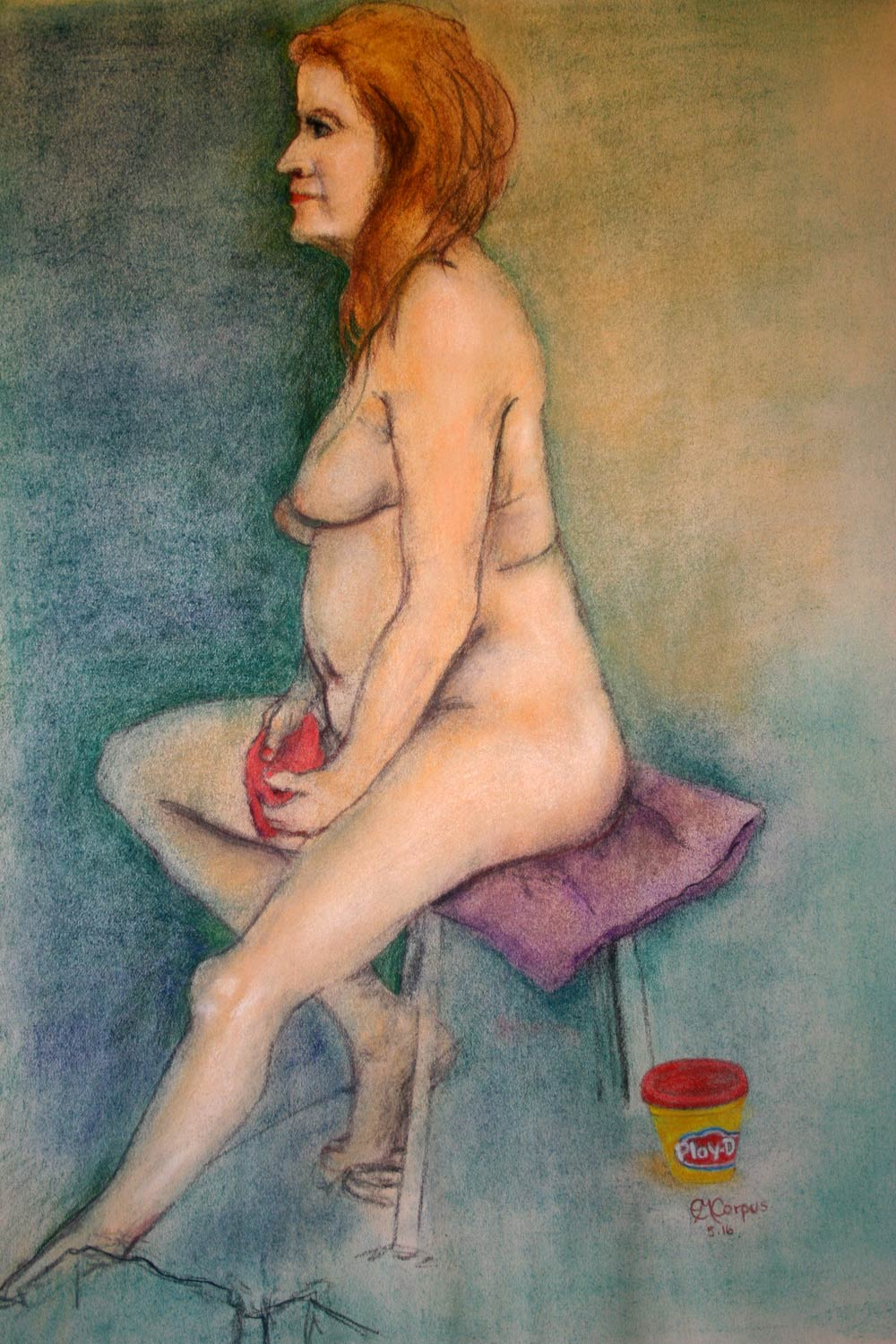 Mature Model Molding Play-Dough While Posing Nude