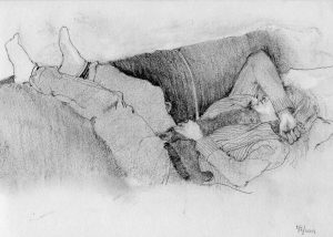 graphite pencil drawing of woman napping on couch