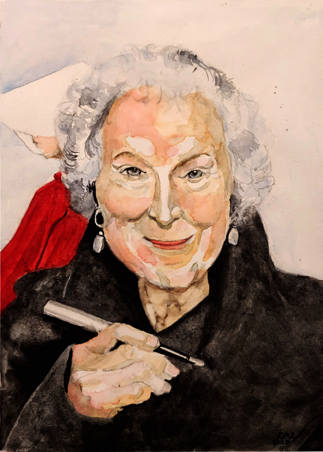 watercolor portrait of Margaret Atwood