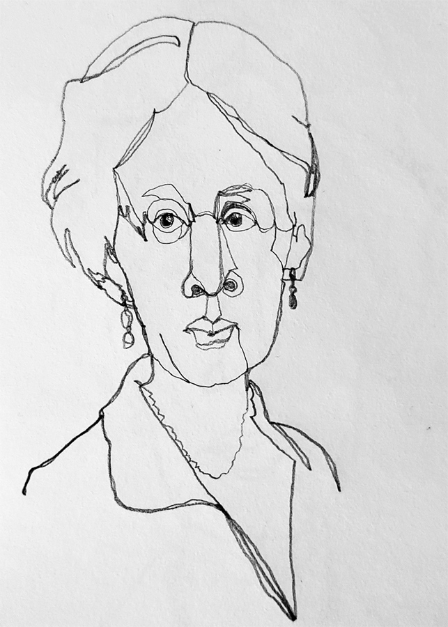 Virginia Woolf continuous line drawing