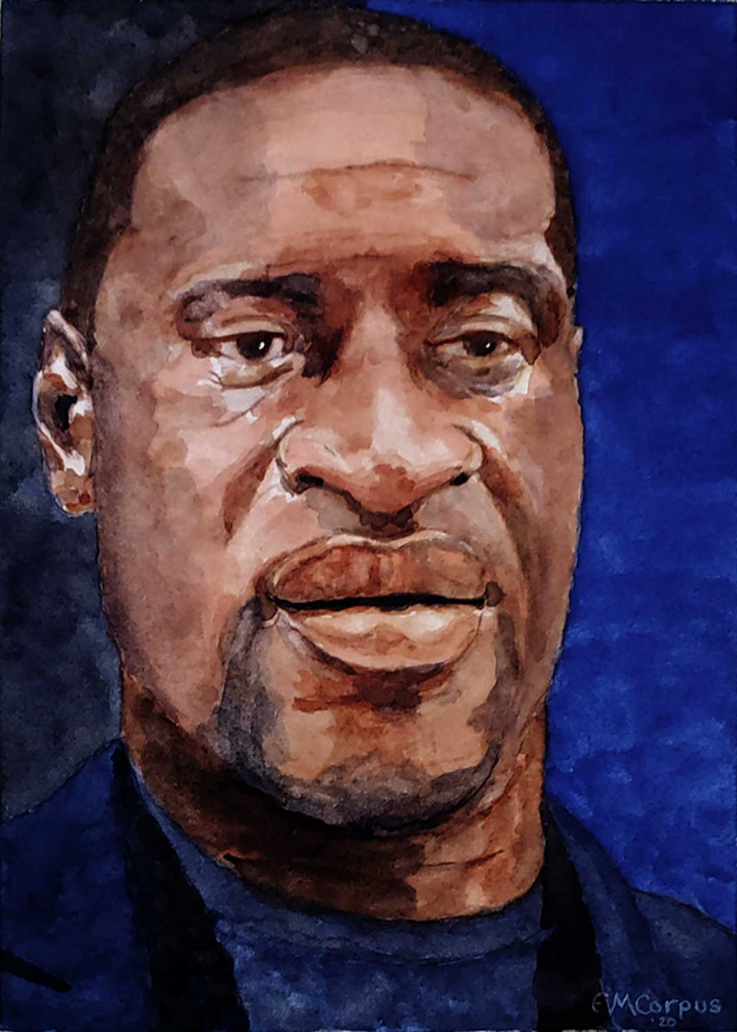 watercolor portrait of George Floyd