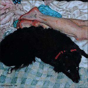 Nude Woman With Dog (In the Manner of Gustave Courbet)
